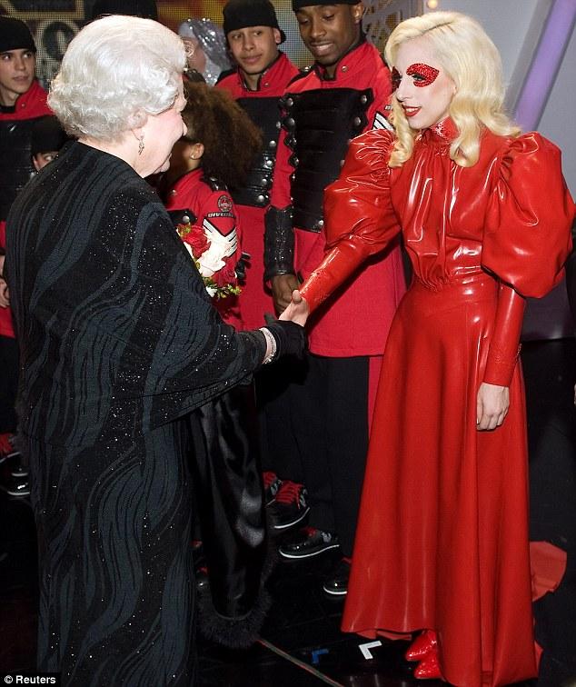 Lady Gaga in a red dress