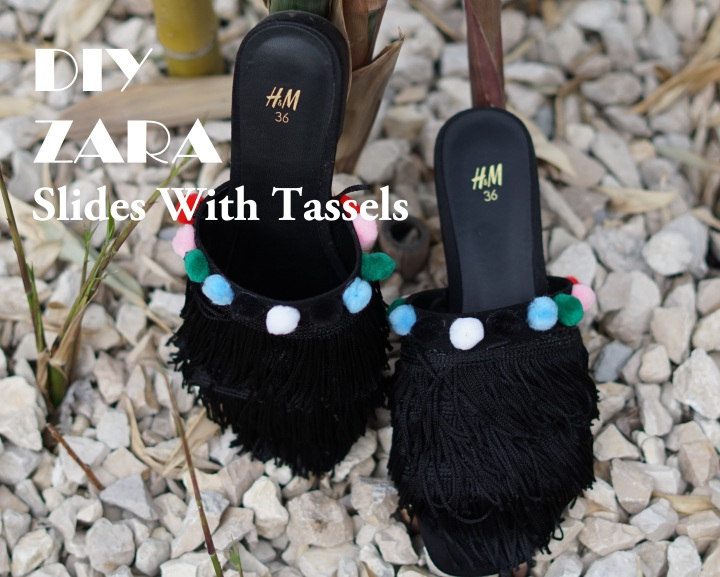 HOW TO MAKE THESE BEAUTIFUL ZARA-LIKE SLIDES WITH TASSELS