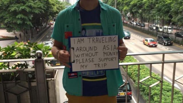 Tourist boldly begging for money to support trip