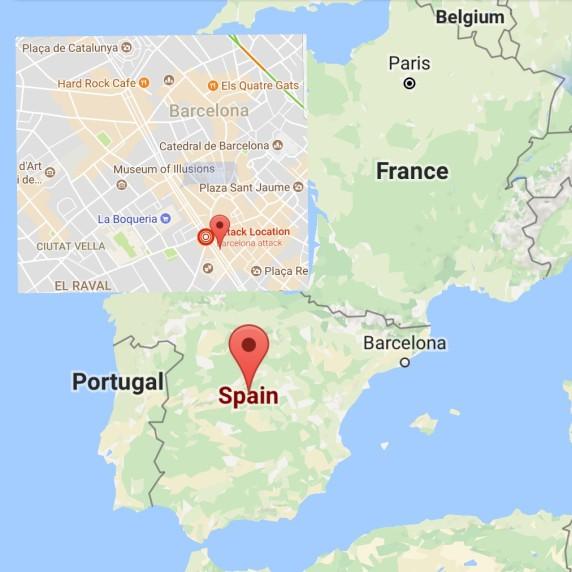 Location of the terrorist attack in La calle Rambla, Barcelona
