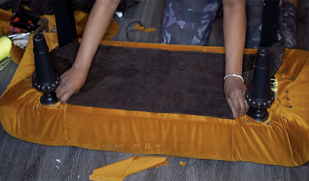 Brown underlying fabric