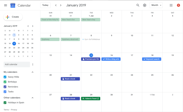 Example of a Time planner calendar